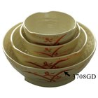 Gold Orchid 40 oz. Round Melamine Wave Rice Bowl - 12 / Pack