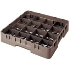"Cambro 16S800167 Camrack 8 1/2"" High Brown 16 Compartment Glass Rack"