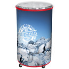 Red Merch I 100 Mobile 70 Qt. Barrel-Style Merchandiser with Heavy Duty Casters