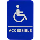 9 inch x 6 inch Blue and White Handicap Accessible Sign with Braille