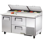 True TPP-60D-2 60 inch Refrigerated Pizza Prep Table with One Door and Two Drawers