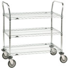 Metro 3SPN56DC Super Erecta Chrome Three Shelf Heavy Duty Utility Cart with Polyurethane Casters - 24 inch x 60 inch x 39 inch