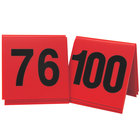 Cal-Mil 226-3 Red/Black Double-Sided Number Tents 76-100 - 3 inch x 3 inch
