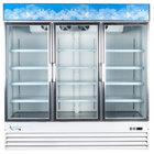 Avantco GDC-69 79 inch White Three Section Swing Glass Door Merchandising Refrigerator with LED Lighting - 69 cu. ft.