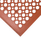 3' x 5' Red Grease-Resistant Anti-Fatigue Floor Mat with Beveled Edge - 3/8