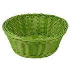 Tablecraft HM1175GN 8 1/4 inch x 3 1/4 inch Green Round Rattan Basket - 6/Pack