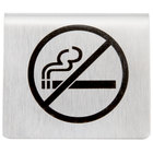 Tablecraft B8 2 1/2 inch x 2 inch Stainless Steel No Smoking Symbol Tent Sign