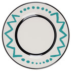Homer Laughlin Uptown 10 5/8 inch Creamy White / Off White with Turquoise on Black China Plate - 12/Case