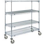 Metro A436EC Super Adjustable Chrome 4 Tier Mobile Shelving Unit with Polyurethane Casters - 21 inch x 36 inch x 69 inch
