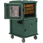 Cambro UPCH1600192 Granite Green Ultra Camcart Two Compartment Heated Holding Pan Carrier with Casters, Both Compartments Heated - 110V