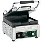 Waring WFG150T 9 3/4 inch x 9 1/4 inch Tostato Perfetto Smooth Top & Bottom Panini Sandwich Grill with Timer - 120V