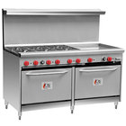Cooking Performance Group 60-CPGV-6B-24G-S26 6 Burner 60 inch Gas Range with 24 inch Griddle and Two 26 1/2 inch Standard Ovens