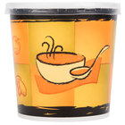 Huhtamaki Chinet 71848 Streetside Print 16 oz. Double-Wall Poly Paper Soup / Hot Food Cup with Plastic Lid - 250/Case