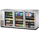 True TBB-24GAL-72G-S-LD 72 inch Stainless Steel Glass Door Back Bar Refrigerator with Galvanized Top and LED Lighting - 24 inch Deep