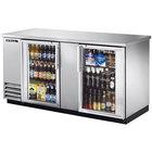 True TBB-3G-S-LD 69 inch Stainless Steel Glass Door Back Bar Refrigerator with LED Lighting
