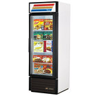 True GDM-23F-LD White Glass Door Merchandiser Freezer with LED Lighting and White Trim - 23 Cu. Ft.