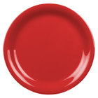6 1/2 inch Pure Red Narrow Rim Melamine Plate - 12/Pack