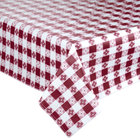 72 inch x 72 inch Burgundy-Checkered Vinyl Table Cover with Flannel Back