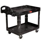 Rubbermaid FG452088BLA Black Medium Two Lipped Shelf Utility Cart