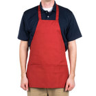 Choice Red Full Length Bib Apron with Pockets - 25 inchL x 28 inchW