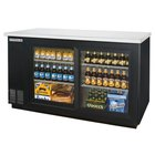 Beverage Air BB58GSF-1-B-LED 58 inch Black Food Rated Sliding Glass Door Back Bar Cooler with Two Doors - 23.8 Cu. Ft.