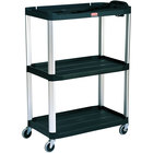 Rubbermaid FG9T3300BLA Black MediaMaster 36 inch Open AV Cart with Three Shelves and 4 inch Casters