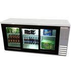 Beverage Air BB72GSYF-1-S-27-LED 72 inch Back Bar Refrigerator with Stainless Steel Exterior, 3 Sliding Glass Doors, and 2 inch Stainless Steel Top - 115V