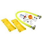 T&S HG-4D-48SK-PS Safe-T-Link 48 inch Coated Gas Connector Hose with Swivel Fittings, Quick Disconnect, 90 Degree Elbow, Street Elbow, Ball Valve, Restraining Cable, and POSI-SET Wheel Placement System