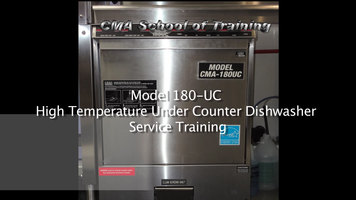 CMA 180UC Undercounter Dishwasher Training Part 1