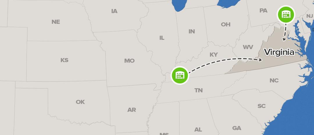 shipping map for Virginia