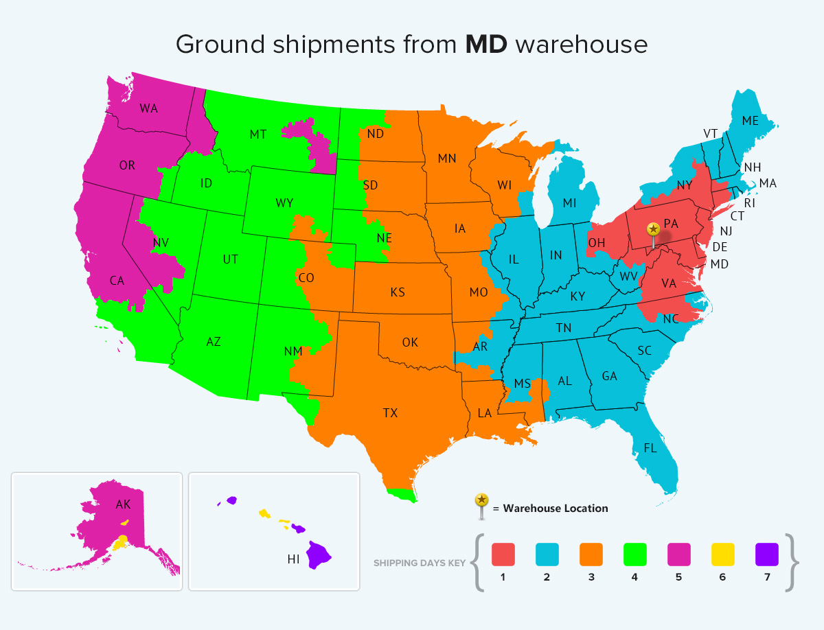 Maryland Ground Warehouse Location Shipping