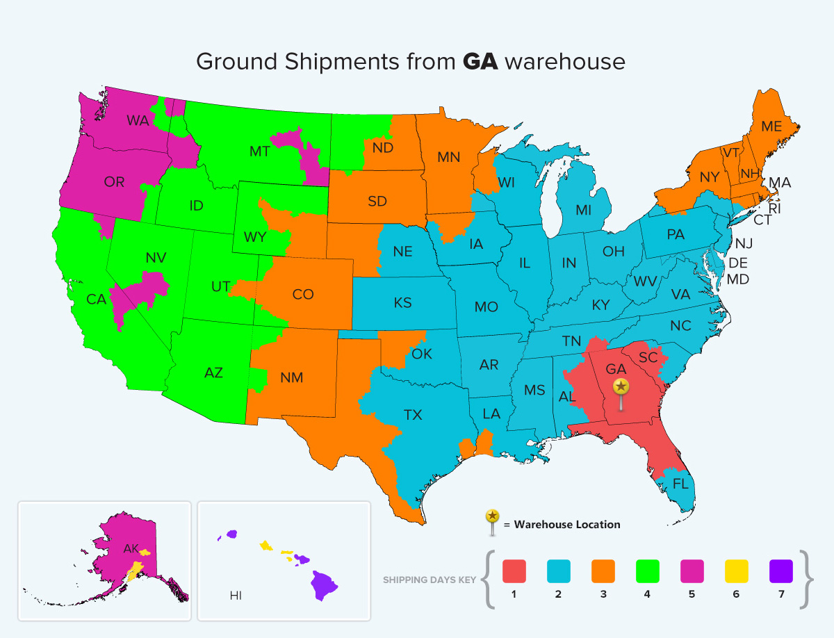Georgia Ground Warehouse Location Shipping