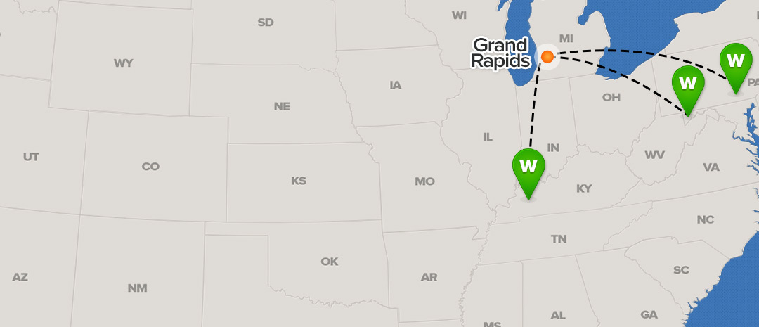 shipping map for Grand Rapids
