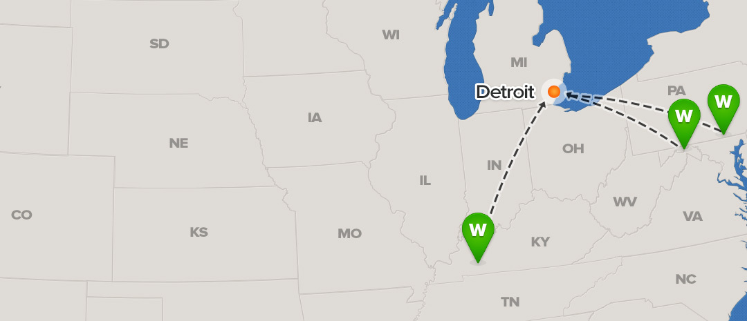 shipping map for Detroit